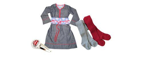 Mill and Mia denim Obi Dress, Freshbaked tights, Flirty Bird Snap Clips