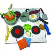 Fabric cooking sets and play food from Button Baby