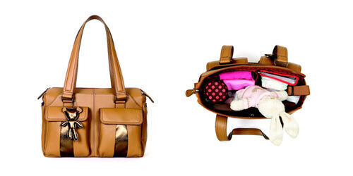 Il Tutto 'Layla' baby bag in tan and bronze