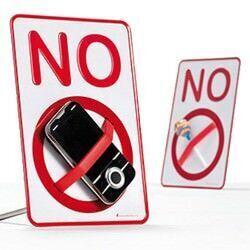 'NO' sign desktop holder