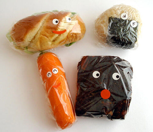 Kids food: use stickers to make faces on food packaging