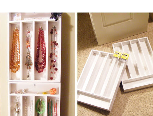Wall mounted cutlery drawers make great jewellery storage