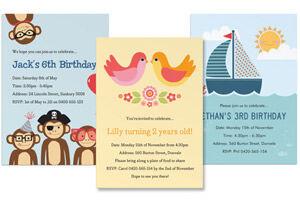 tinyme personalised birthday invitations