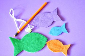Toddler busy bag ideas including felt fish