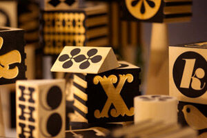 Artistic wooden toys by Uncle Goose.