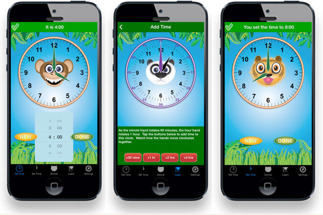 Learn to tell the time with the Jungle Time App