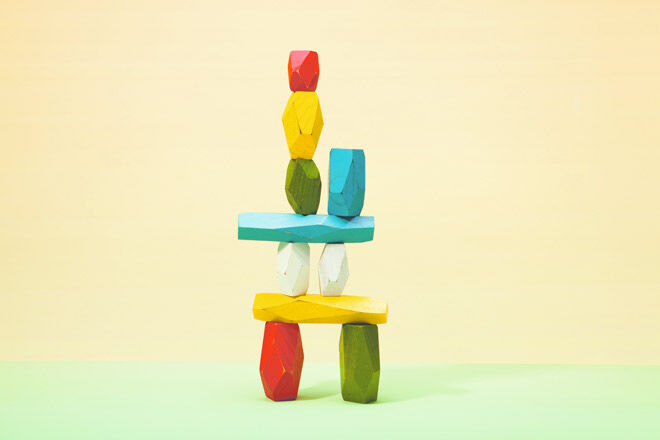 Make a stackable sculpture with this set of balancing blocks