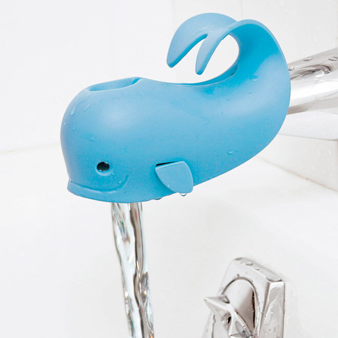 Moby is a cute whale spout cover that makes bathtime fun and safe by protecting baby's head from bumps!!