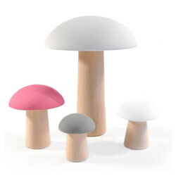 Grey, pink and white wooden Mushrooms