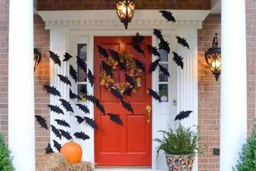 Decorating front doors for Halloween