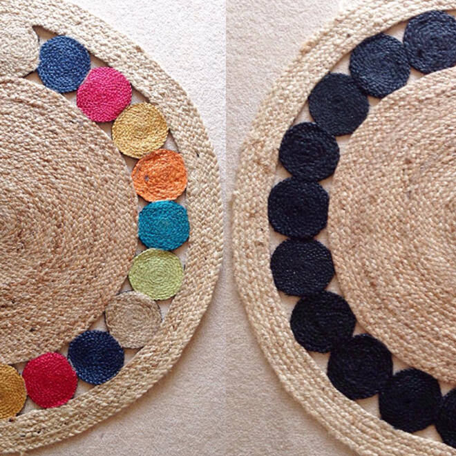 This colourful jute rug had a monochrome makeover. This particular Kmart rug was made-over with just one sample pot of black paint from Bunnings - easy peasy!