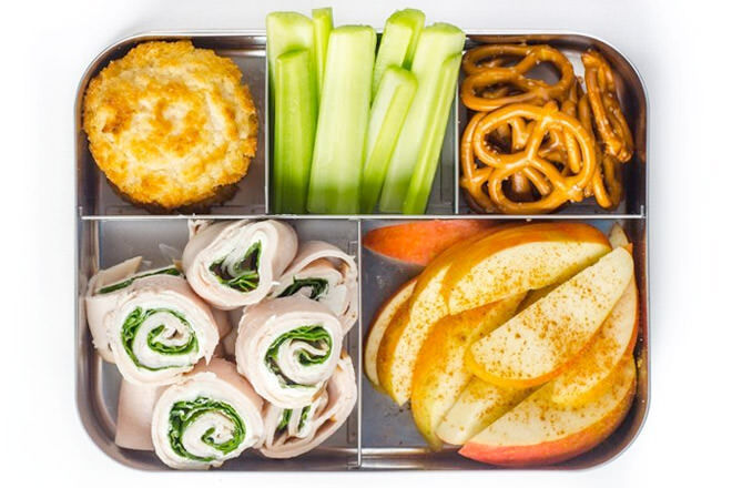These meat, lettuce and cream cheese rolls are perfect for little kiddies who like to pick at their lunches.