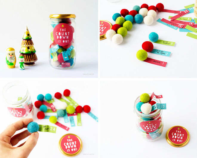 Advent calendar jar! Go for something a bit different and try adding little notes to felt balls in a jar.