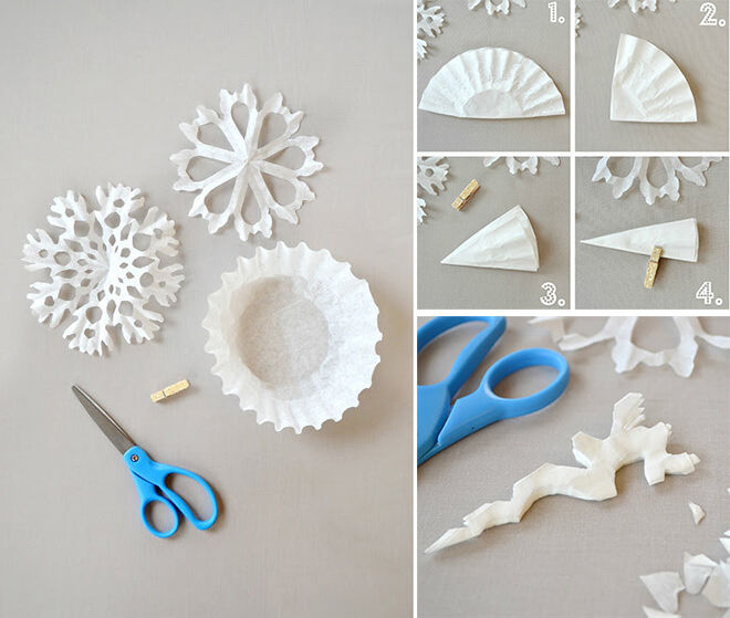 DIY Paper Snowflakes with Cupcake Wrappers