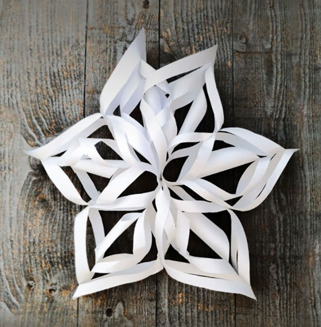 Giant 3D paper snowflake craft