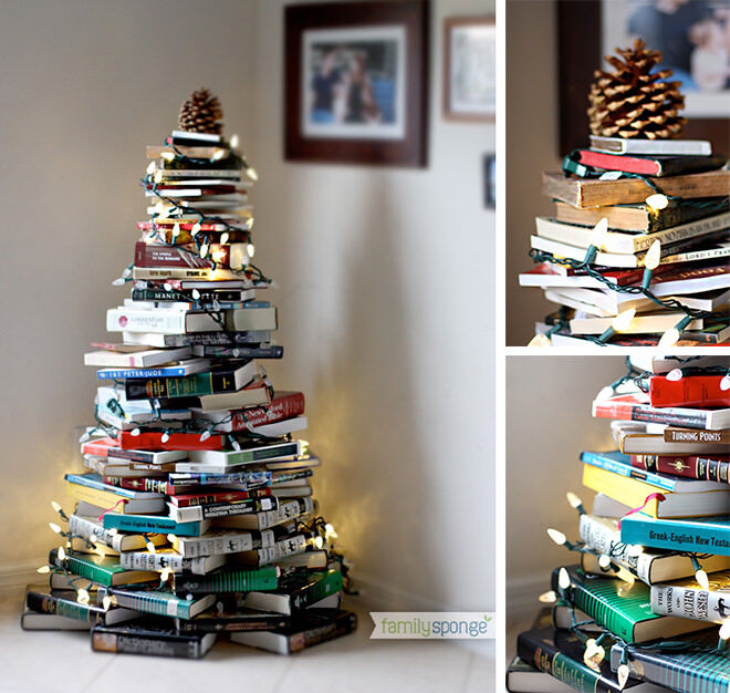 Stack books in a Christmas tree pattern then twist Christmas lights around to make a gorgeous feature