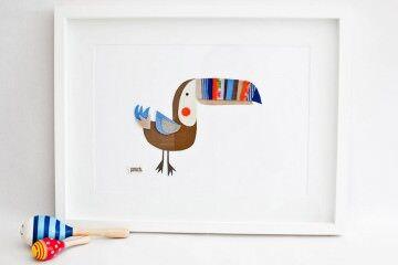 Pouch Handmade nursery art vintage collage