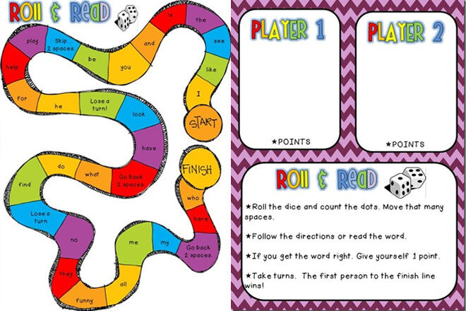 Roll & Read - a fun dice game for learning sight words