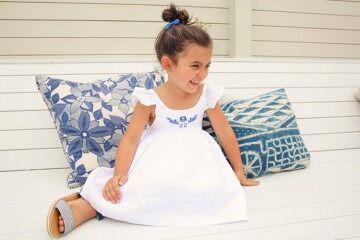 White linen girls dress by Lacey Lane