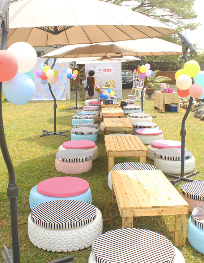 Upcycled tyre party seats
