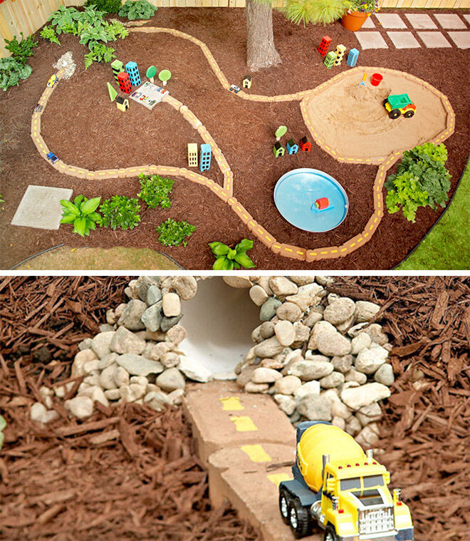 Lowes. How to build a backyard racing track with a tunnel!