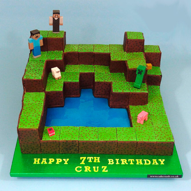 Peachy 25 Of The Best Minecraft Cakes To Make At Home Mums Grapevine Funny Birthday Cards Online Fluifree Goldxyz