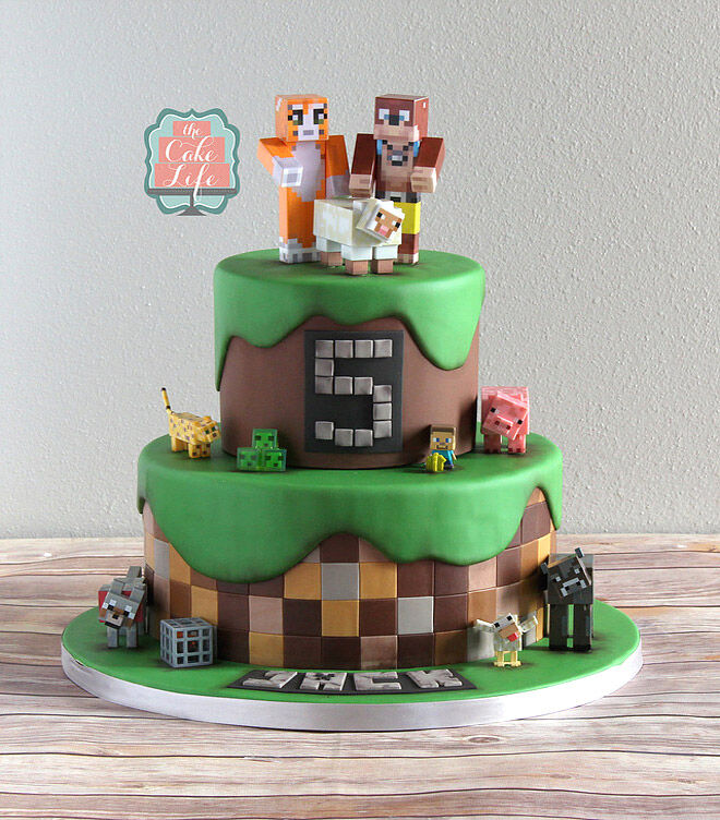 Groovy 25 Of The Best Minecraft Cakes To Make At Home Mums Grapevine Funny Birthday Cards Online Fluifree Goldxyz