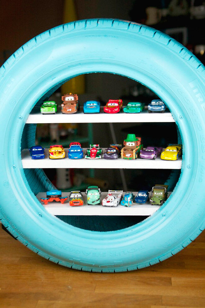 upcycled tyre toy car storage