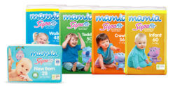 Range of Aldi Mamia Supafit nappies