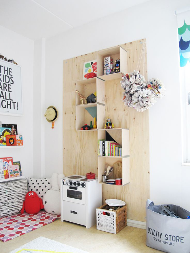 Plywood children's shelves