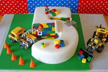 lego number five cake construction theme