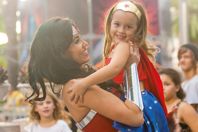 Wonder Woman and little girl family holiday Gold Coast