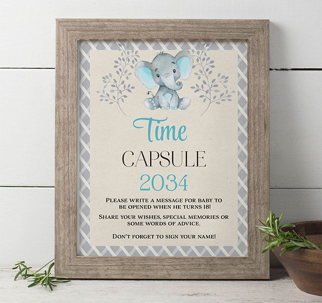 Baby shower time capsule