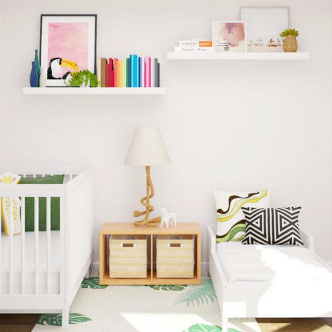 Modern baby toddler shared bedroom