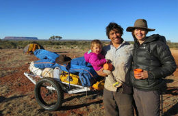 Family treks across outback Australia with toddler