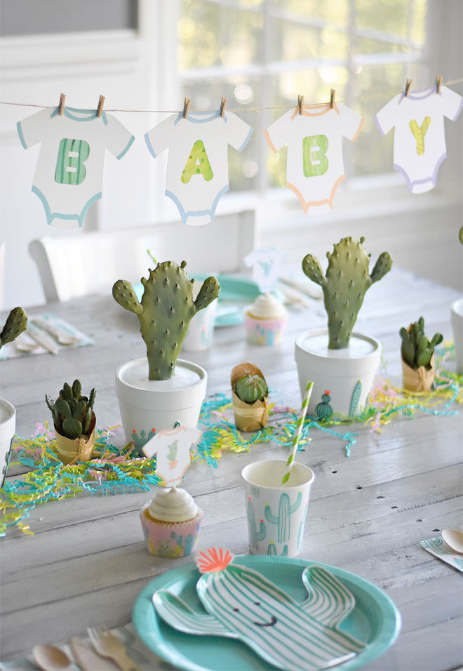 Cactus baby shower theme