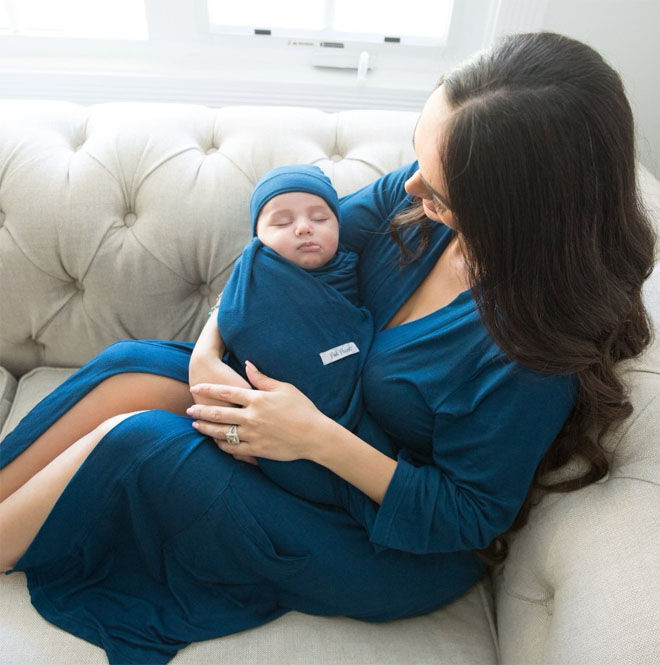 Posh Peanut matching robe and swaddle in blue