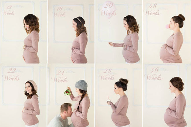 Pregnancy week by week photo ideas