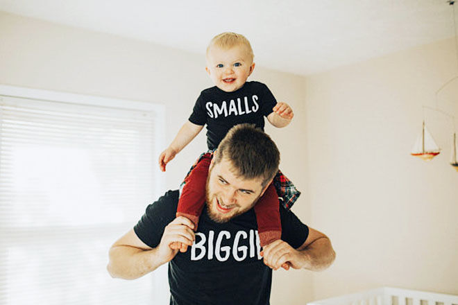 Biggie Smalls, dad and baby matching tees