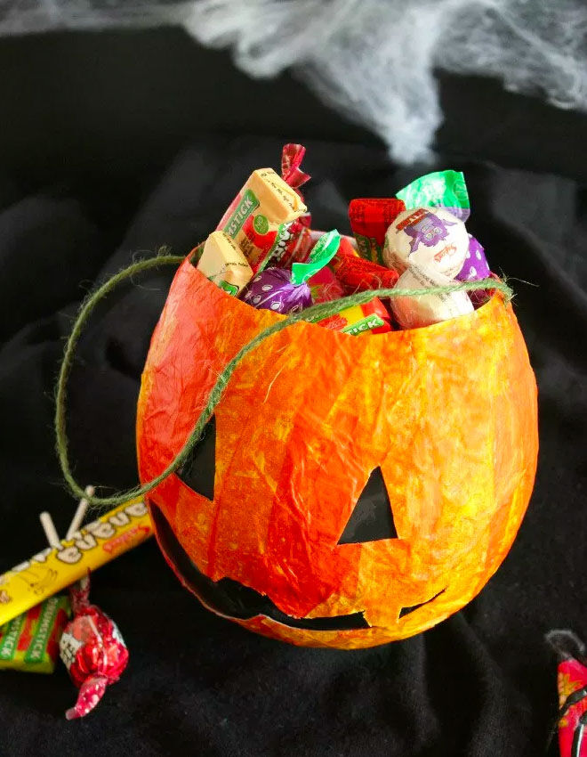 Papier mache pumpkin filled with lollies