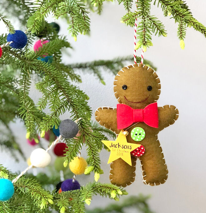 Gingerbread man first Christmas ornament