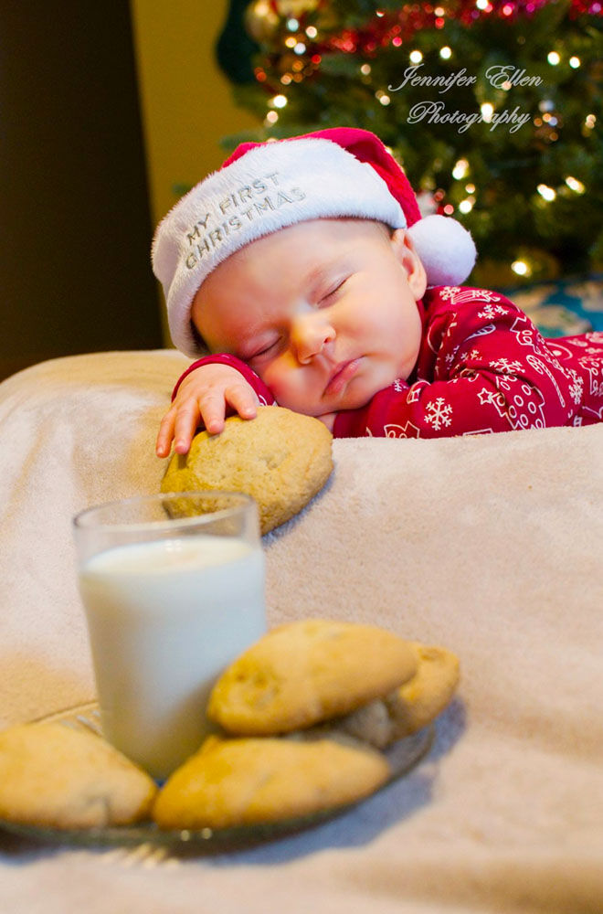 Baby's first Christmas photo, eating all the cookies