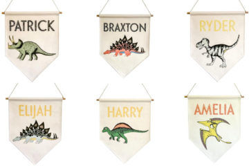 Personalised dinosaur name banners by Dino Raw