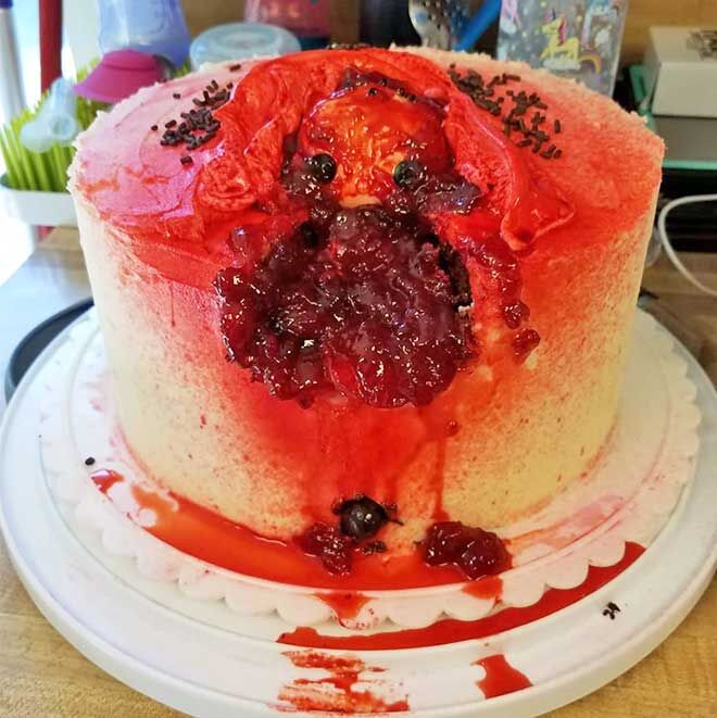 Blood and guts baby shower cake