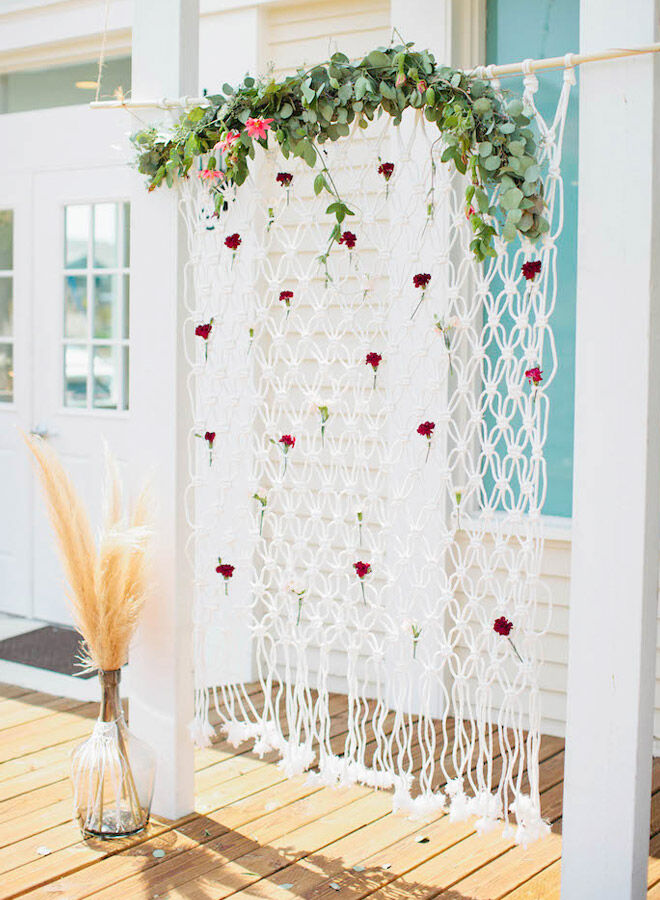 Macrame backdrop for a boho baby shower