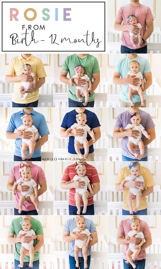 13 monthly baby photo ideas: dad holding baby in different t-shirt colour