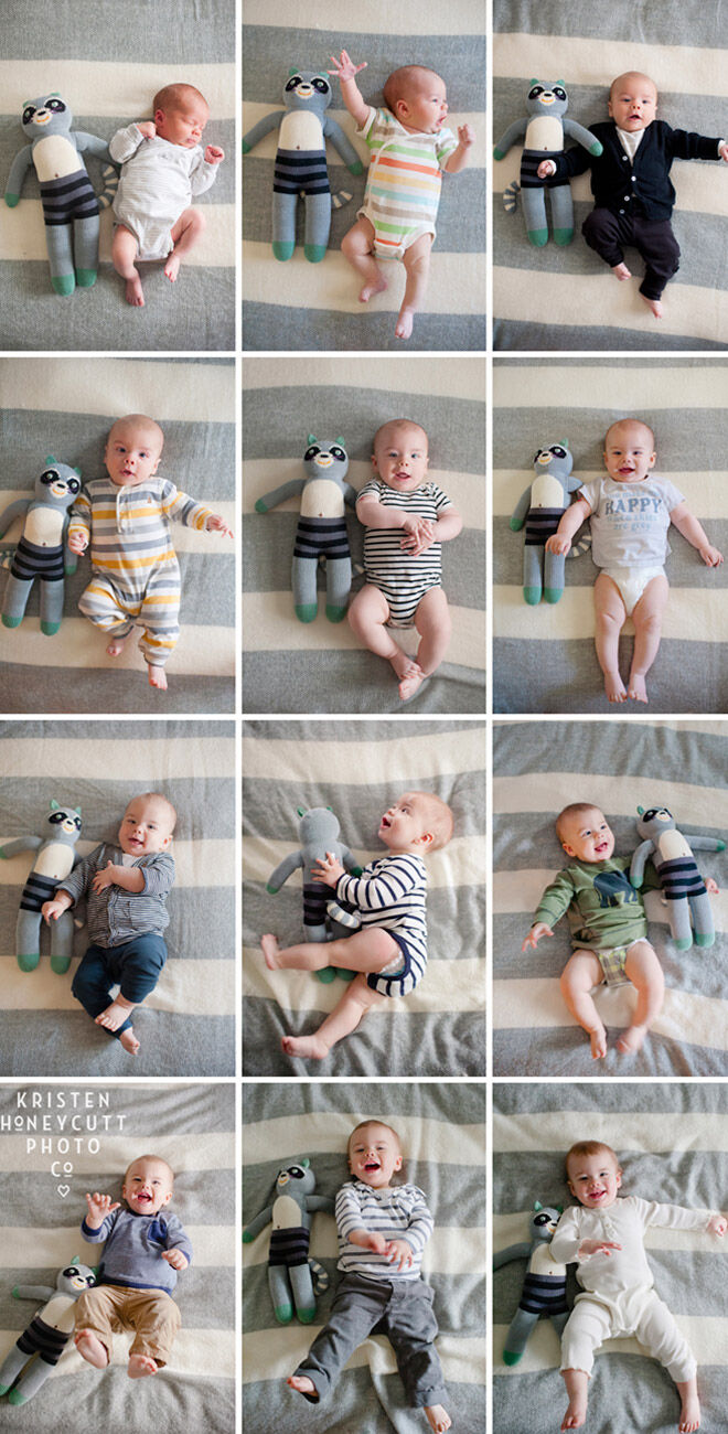 13 monthly baby photo ideas: using favourite toy