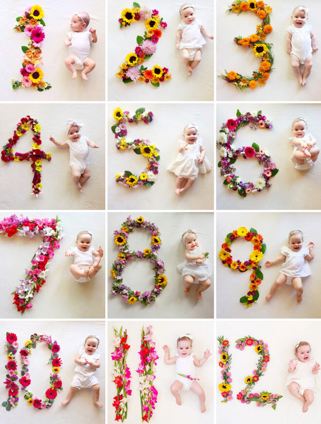 13 monthly baby photo ideas: Floral monthly baby photo idea