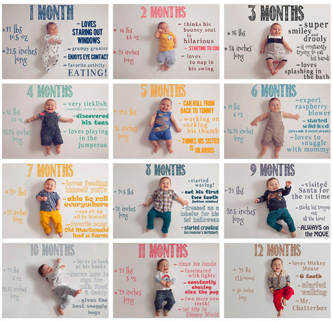 13 monthly baby photo ideas: whiteboard and markers