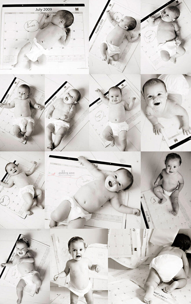 13 monthly baby photo ideas: Calendar idea for month-by-month photos of baby